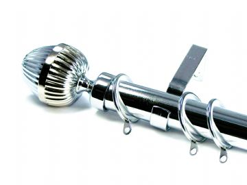 28mm Polished Chrome Curtain Pole with Acorn Finials 3.6m 4.5m 4.8m 6m